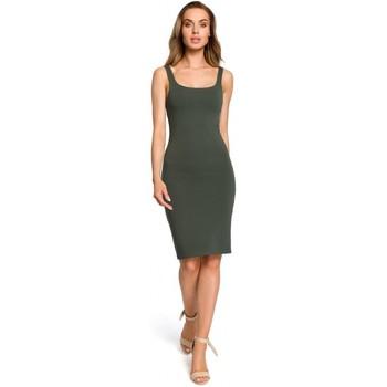 Textil Ženy Krátké šaty Moe M414 Šaty na tělo s tlustým páskem - vojensky zelené