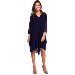 Textil Ženy Krátké šaty Style S159 Šifonové šaty s asymetrickým lemem - tmavě modré