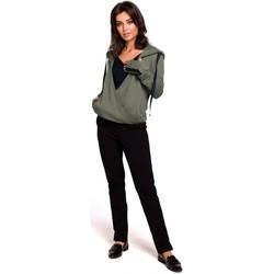 Textil Ženy Mikiny Be B127 Zavinovací svetr s kapucí - khaki barva