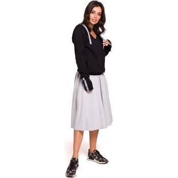 Textil Ženy Mikiny Be B127 Zavinovací svetr s kapucí - černý