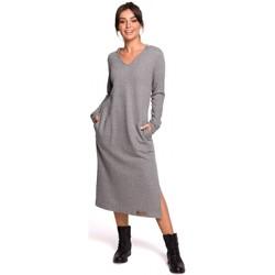 Textil Ženy Společenské šaty Be B128 Maxi šaty s kapucí - šedé
