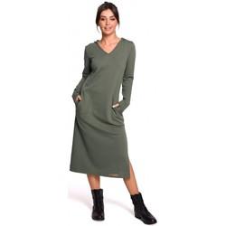 Textil Ženy Společenské šaty Be B128 Maxi šaty s kapucí - khaki barva