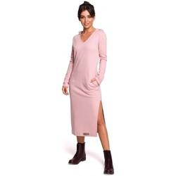 Textil Ženy Společenské šaty Be B128 Maxi šaty s kapucí - pudrové