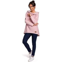 Textil Ženy Mikiny Be B131 Svetr s vysokým límcem - pudrový