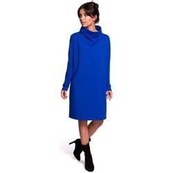 Textil Ženy Krátké šaty Be B132 Šaty s vysokým límcem - královská modř