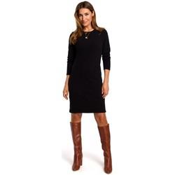 Textil Ženy Krátké šaty Style S178 Svetrové šaty s dlouhým rukávem - černé