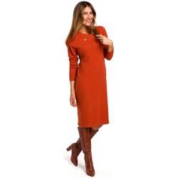 Textil Ženy Krátké šaty Style S178 Svetrové šaty s dlouhým rukávem - zrzavé