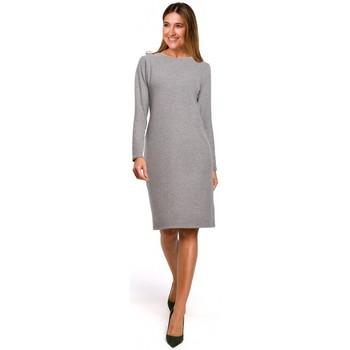 Textil Ženy Krátké šaty Style S178 Svetrové šaty s dlouhým rukávem - šedé