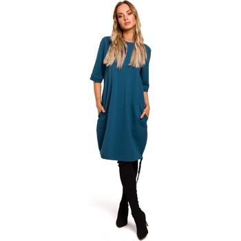 Textil Ženy Krátké šaty Moe M451 Šaty s vázaným spodním lemem - oceánsky modré