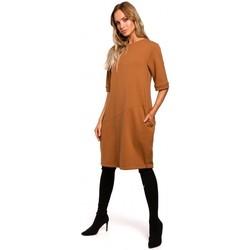 Textil Ženy Krátké šaty Moe M451 Šaty s vázaným spodním lemem - karamelové