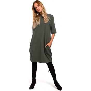 Textil Ženy Krátké šaty Moe M451 Šaty s vázaným spodním lemem - vojensky zelené