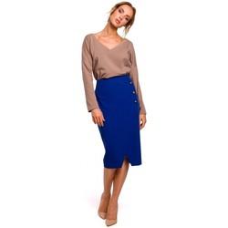 Textil Ženy Sukně Moe M454 Tužková sukně s ozdobnými knoflíky - královská modř