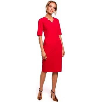 Textil Ženy Šaty Moe M455 Šaty s výstřihem do V - červené