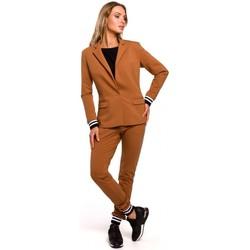 Textil Ženy Obleková saka Moe M459 Blejzr s pruhovanými žebrovanými manžetami - karamelový
