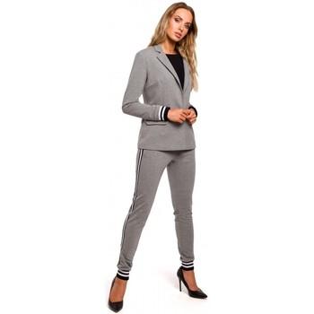 Textil Ženy Obleková saka Moe M459 Sako s pruhovanými žebrovanými manžetami - šedé