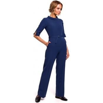 Textil Ženy Overaly / Kalhoty s laclem Moe M463 Kombinéza se stojáčkem - tmavě modrá