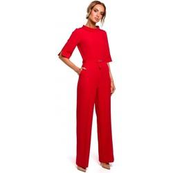 Textil Ženy Overaly / Kalhoty s laclem Moe M463 Kombinéza se stojáčkem - červená