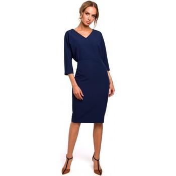 Textil Ženy Krátké šaty Moe M464 Šaty s netopýřími rukávy - tmavě modré