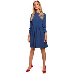 Textil Ženy Krátké šaty Moe M465 Šaty Shift s raglánovými rukávy - modré