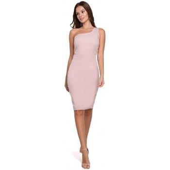 Textil Ženy Krátké šaty Makover K003 Plášťové šaty s výstřihem na jedno rameno - krepová růžová