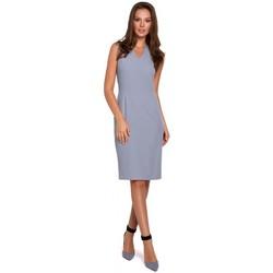 Textil Ženy Krátké šaty Makover K004 Tužkové šaty s výstřihem do V - lila