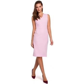 Textil Ženy Krátké šaty Makover K004 Tužkové šaty s výstřihem do V - červené