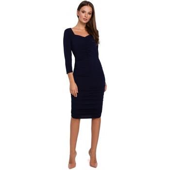 Textil Ženy Krátké šaty Makover K006 Pletené šaty s řasením - červené