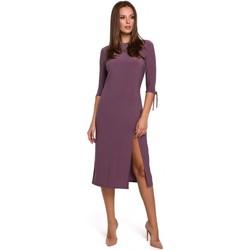 Textil Ženy Krátké šaty Makover K007 Pletené šaty s vázanými rukávy - vřesové