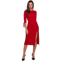 Textil Ženy Krátké šaty Makover K007 Pletené šaty s vázanými rukávy - červené
