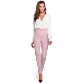 Textil Ženy Mrkváče Makover K008 Kalhoty s vysokým pasem a volánkovým páskem - lila