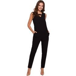Textil Ženy Overaly / Kalhoty s laclem Makover K009 Jednodílný overal s výstřihem do V - černý