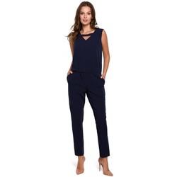 Textil Ženy Overaly / Kalhoty s laclem Makover K009 Jednodílný overal s výstřihem do V - tmavě modrý