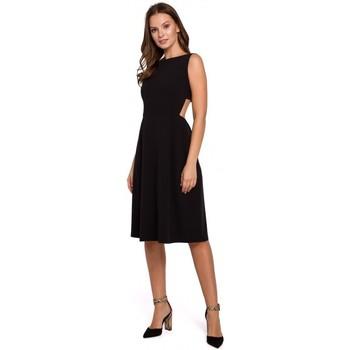 Textil Ženy Šaty Makover K011 Šaty s rozevlátými zády - černé
