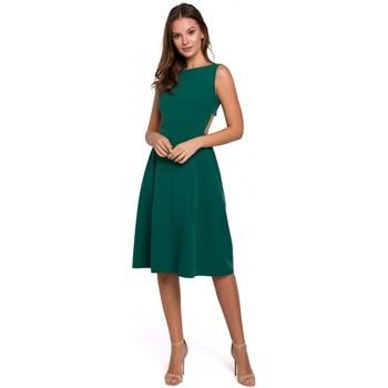 Textil Ženy Krátké šaty Makover K011 Šaty s rozevlátými zády - zelené