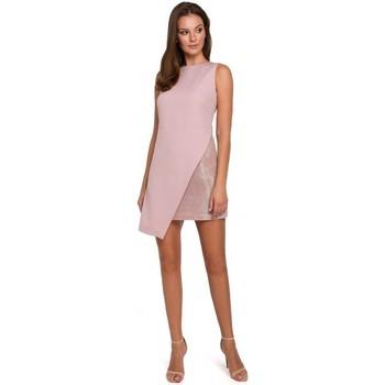 Textil Ženy Šaty Makover K014 Mini šaty s asymetrickým lemem - krepové růžové
