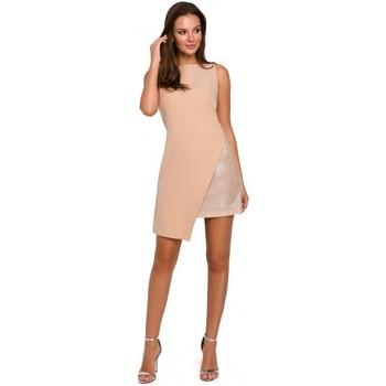Textil Ženy Krátké šaty Makover K014 Mini šaty s asymetrickým lemem - béžové