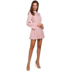 Textil Ženy Krátké šaty Makover K021 Mini šaty s projmutým spodním lemem - krepové růžové