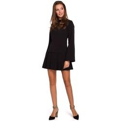 Textil Ženy Krátké šaty Makover K021 Mini šaty s projmutým spodním lemem - černé