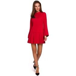 Textil Ženy Krátké šaty Makover K021 Mini šaty s projmutým spodním lemem - červené