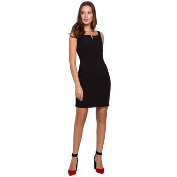 Textil Ženy Krátké šaty Makover K022 Mini šaty se čtvercovým výstřihem - černé