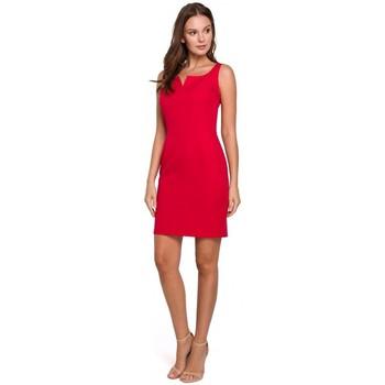 Textil Ženy Krátké šaty Makover K022 Mini šaty se čtvercovým výstřihem - červené