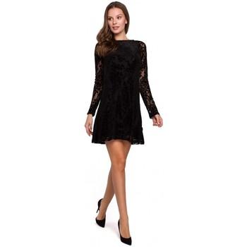 Textil Ženy Šaty Makover K023 Krajkové šaty Flock - černé