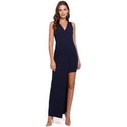 Textil Ženy Společenské šaty Makover K026 Dlouhé asymetrické šaty - tmavě modré