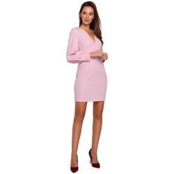 Textil Ženy Krátké šaty Makover K027 Mini šaty s puff rukávy - lila