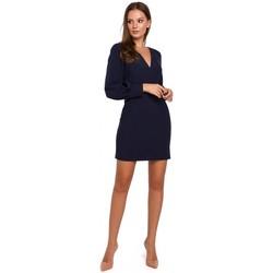Textil Ženy Krátké šaty Makover K027 Mini šaty s puff rukávy - tmavě modré