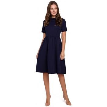 Textil Ženy Krátké šaty Makover K028 Šaty s ohrnutým výstřihem - tmavě modré