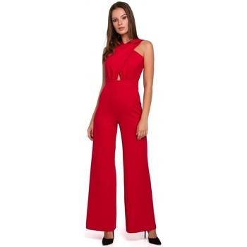 Textil Ženy Overaly / Kalhoty s laclem Makover K029 Kombinéza s křížem - červená