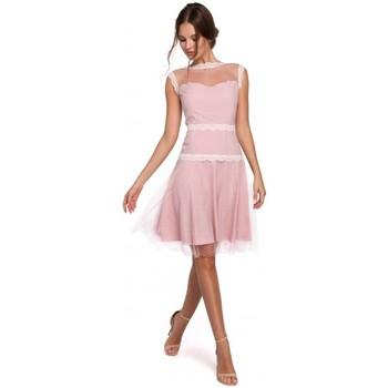 Textil Ženy Šaty Makover K030 Puntíkované tylové šaty - pudrové