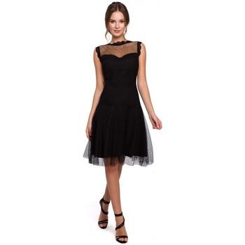 Textil Ženy Krátké šaty Makover K030 Tylové šaty s puntíky - černé
