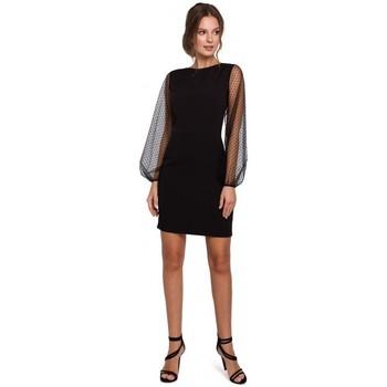 Textil Ženy Krátké šaty Makover K032 Tylové mini šaty s rukávy - černé